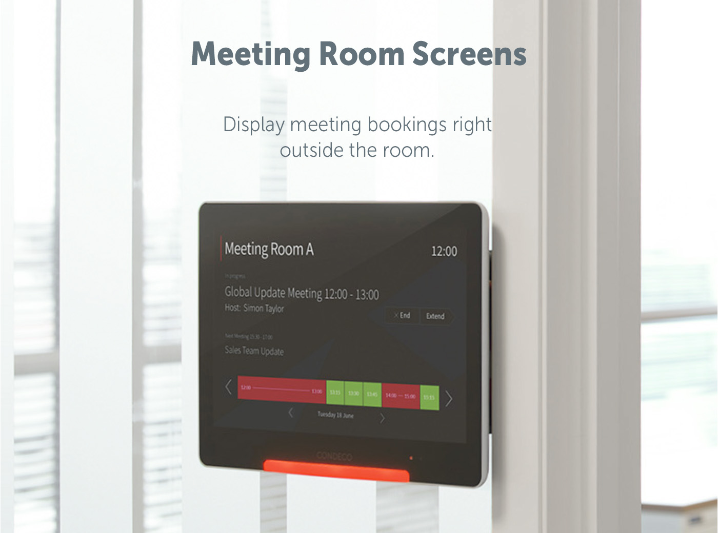 Meeting room booking screens